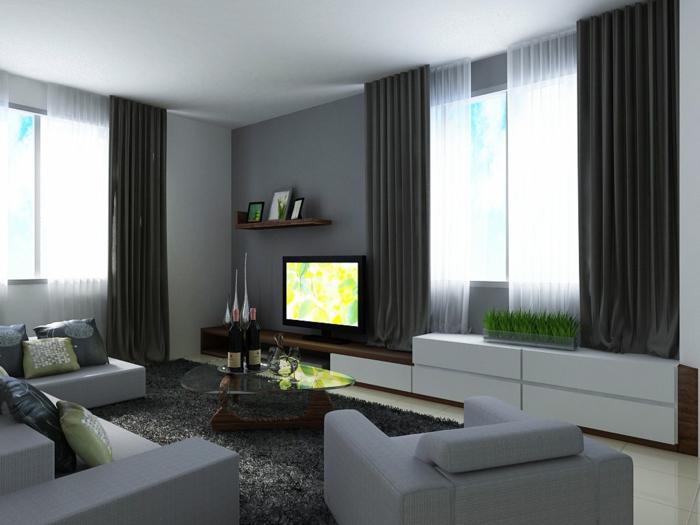 Wandgestaltung Ideen Graunuancen Wohnzimmer