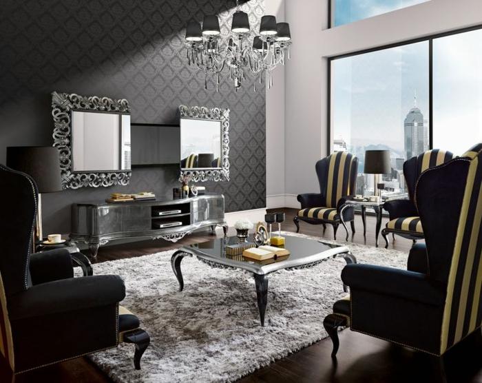 wandgestaltung ideen wandtapete elegant grau heller teppich spiegel