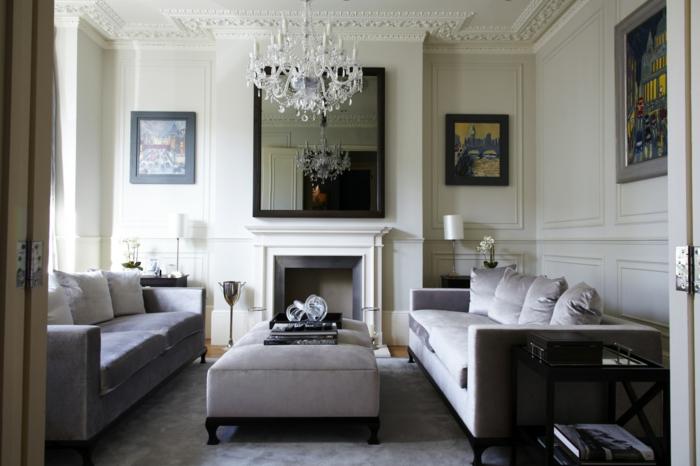 wandgestaltung ideen wohnideen wohnzimmer schicke möbel kamin bilder akzente
