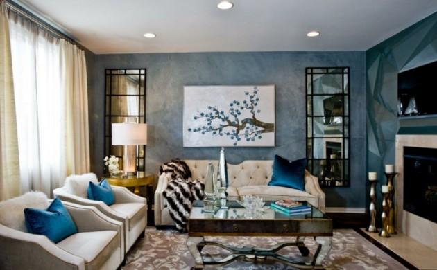 wandgestaltung-ideen-wohnideen-wohnzimmer-stilvolle-blaue-wände-spiegeloberflächen