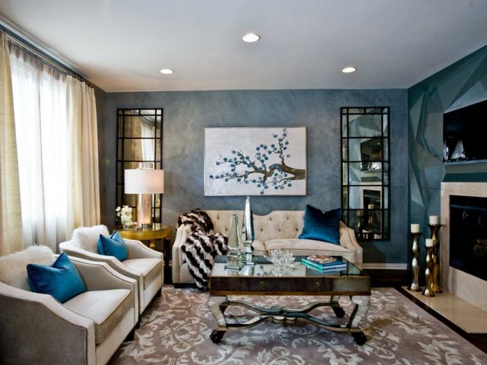 wandgestaltung ideen wohnideen wohnzimmer stilvolle blaue wände spiegeloberflächen