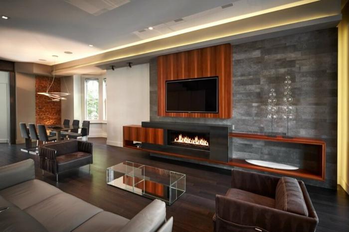 Wandgestaltung Ideen Wohnzimmer Fernseher Kamin Akzentwand
