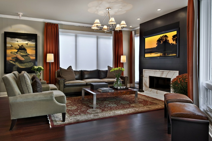 44 wandgestaltung ideen, wie sie den raum beleben - Wandgestaltung Wohnzimmer Orange