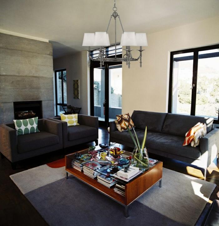 wandgestaltung ideen wohnzimmer wandpaneele dunkle möbel couchtisch stauraum