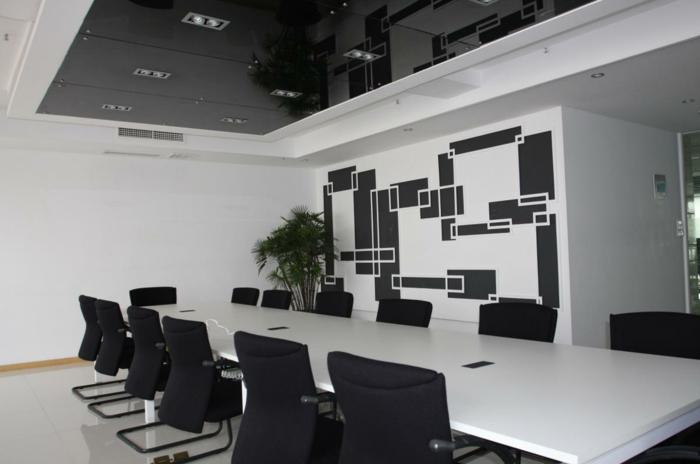 Muster Schwarz-Weiß wandgestaltung mit Farbe wandgestaltung schwarz weiß buero einrichten fenster