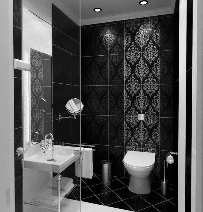 Muster Schwarz-Weiß lassen Sie eine Wandgestaltung mit Farbe vergessenwandgestaltung schwarz weiß bad einrichten