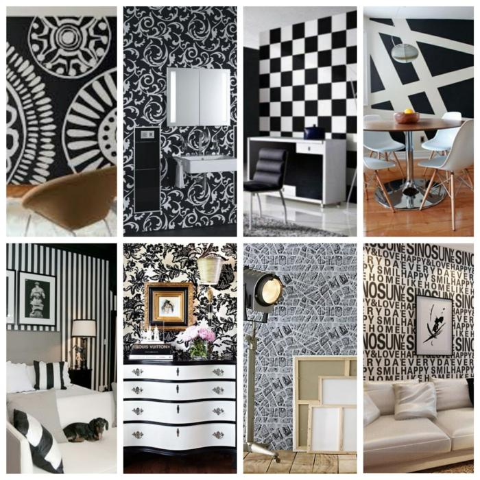 Muster in Schwarz-Weiß wandgestaltung mit Farbe wandgestaltung schwarz weiß bad einrichten collage