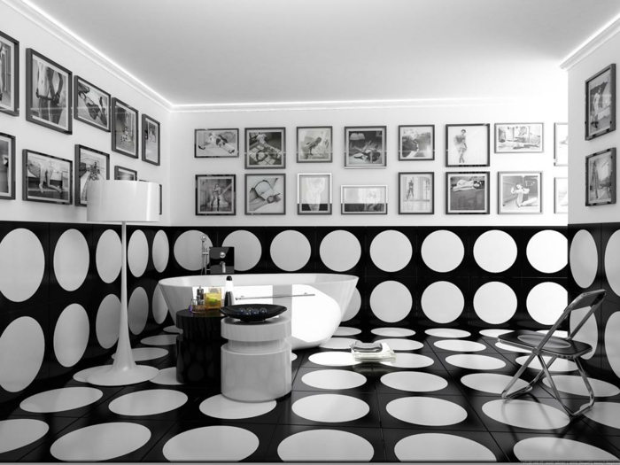 Muster Schwarz-Weiß wandgestaltung mit Farbe wandgestaltung schwarz weiß bad gepunktet