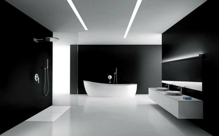Muster in Schwarz-Weiß wandgestaltung mit Farbe wandgestaltung schwarz weiß badezimmer einrichten weiß starck lampe