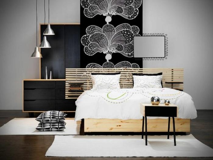 Muster in Schwarz-Weiß wandgestaltung mit Farbe wandgestaltung schwarz weiß schlafzimmer einrichten meer