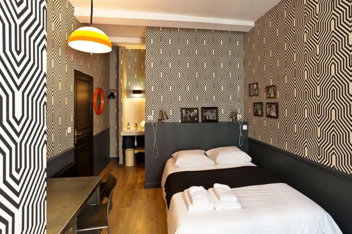 Muster in Schwarz-Weiß wandgestaltung mit Farbe wandgestaltung schwarz weiß schlafzimmer einrichten technisch