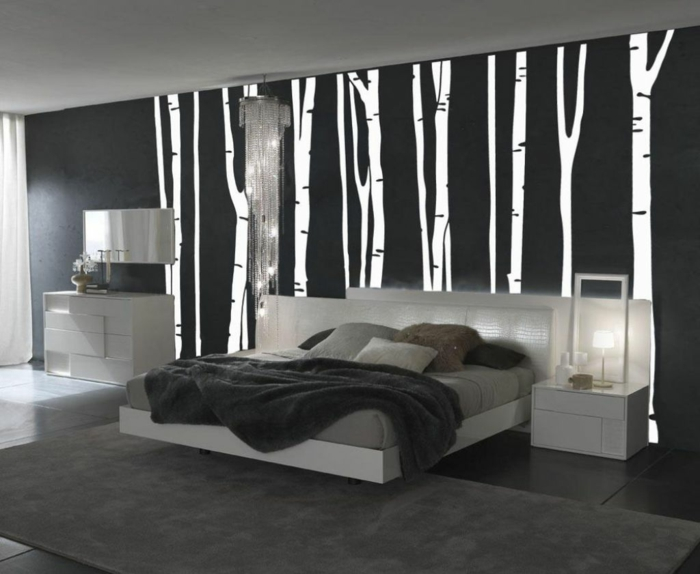 Muster Schwarz-Weiß wandgestaltung mit Farbe wandgestaltung schwarz weiß schlafzimmer einrichten weiss schwarz birke