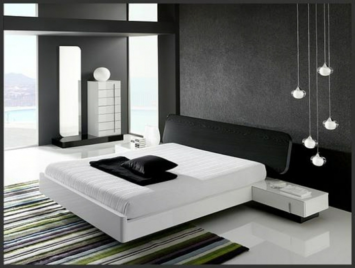 Muster Schwarz-Weiß wandgestaltung mit Farbe wandgestaltung schwarz weiß schlafzimmer einrichten weiss schwarz muster typo