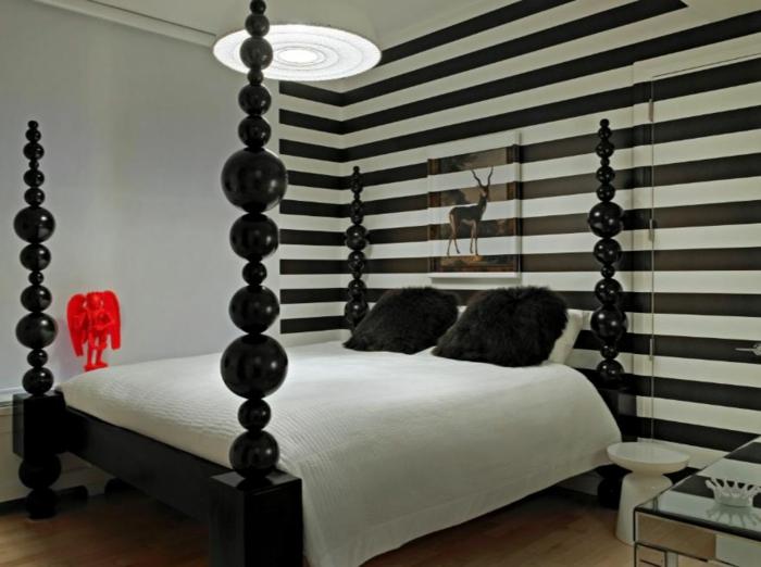 Muster in Schwarz-Weiß wandgestaltung mit Farbe wandgestaltung schwarz weiß schlafzimmer einrichten weiss schwarz typo