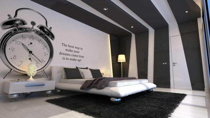 Muster in Schwarz-Weiß wandgestaltung mit Farbe einrichtungsbeispiele schwarz weiß schlafzimmer gestaltung