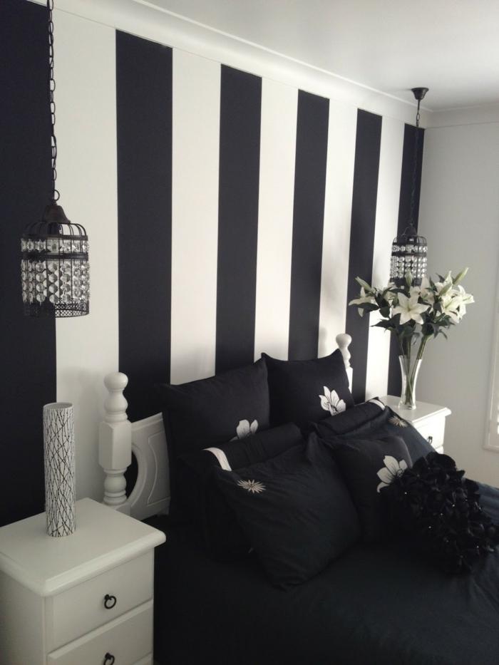 Muster Schwarz-Weiß wandgestaltung mit Farbe einrichtungsbeispiele schwarz weiß wihnzimmer einrichten gestreift