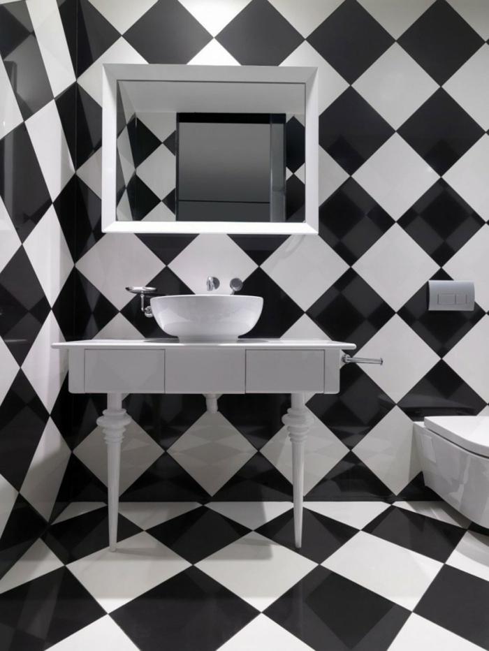 Muster Schwarz-Weiß wandgestaltung mit Farbe wandgestaltung schwarz weiß wihnzimmer einrichten schachbrett