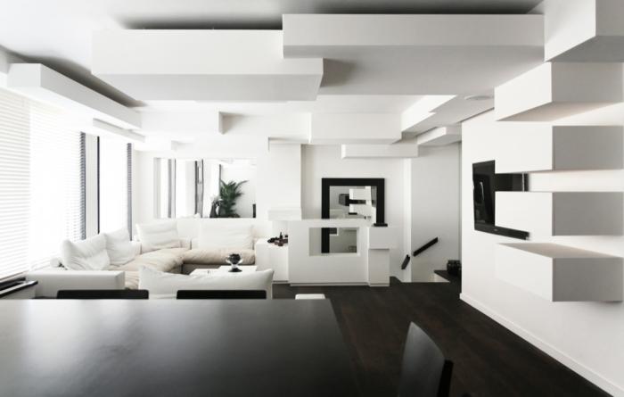 Muster in Schwarz-Weiß wandgestaltung mit Farbe wandgestaltung schwarz weiß wihnzimmer einrichten weiss