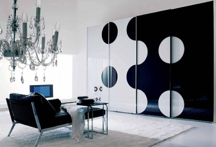 Muster Schwarz-Weiß wandgestaltung mit Farbe einrichtungsbeispiele weiß wihnzimmer einrichten