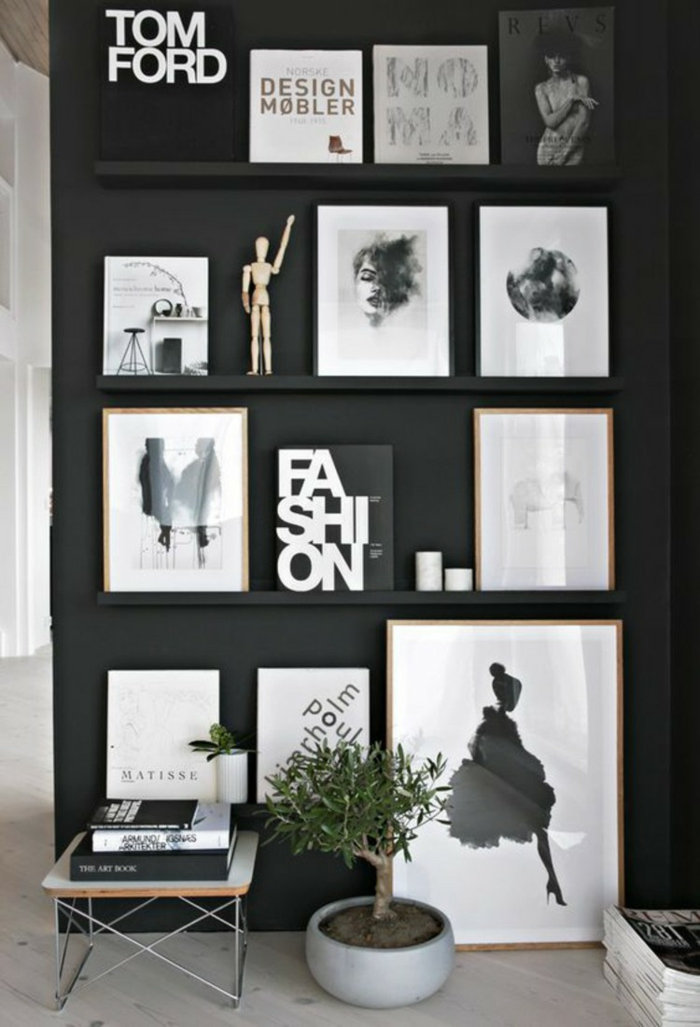 Muster in Schwarz-Weiß wandgestaltung mit Farbe wandgestaltung-schwarz-weiß-wohnzimmer-einrichten-akzentwand