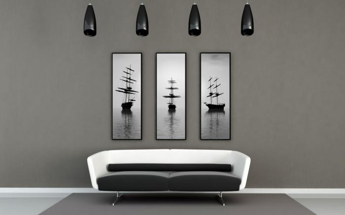 Muster in Schwarz-Weiß wandgestaltung mit Farbe einrichtungsbeispiele schwarz weiß wohnzimmer einrichten accessoires