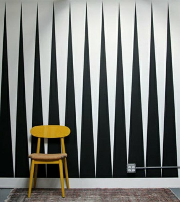 Muster Schwarz-Weiß wandgestaltung mit Farbe einrichtungsbeispiele schwarz weiß wohnzimmer einrichten backgammon