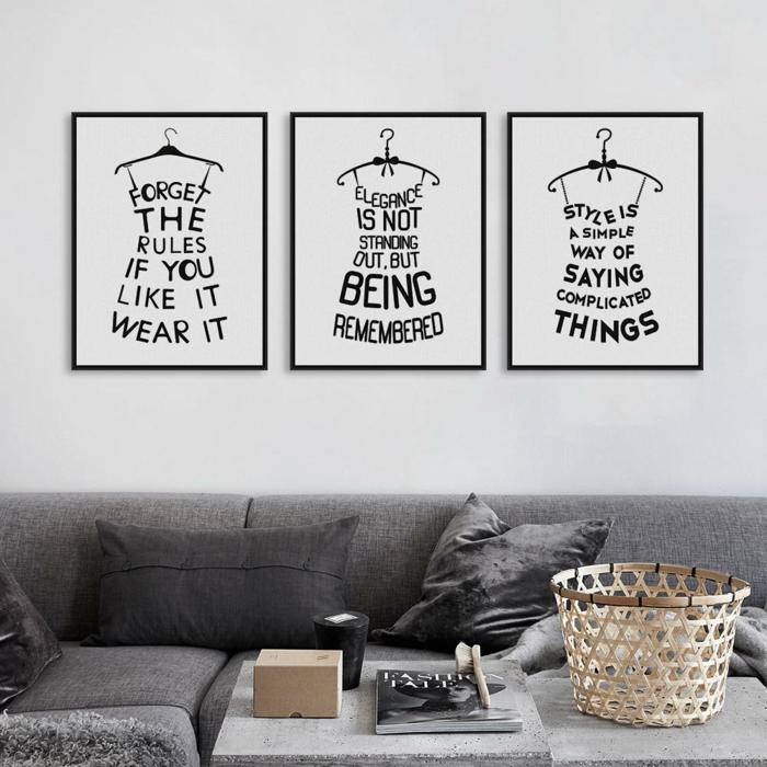 Wohnzimmer Wandgestaltung Schwarz Weiß Sachliche Auf Moderne Deko