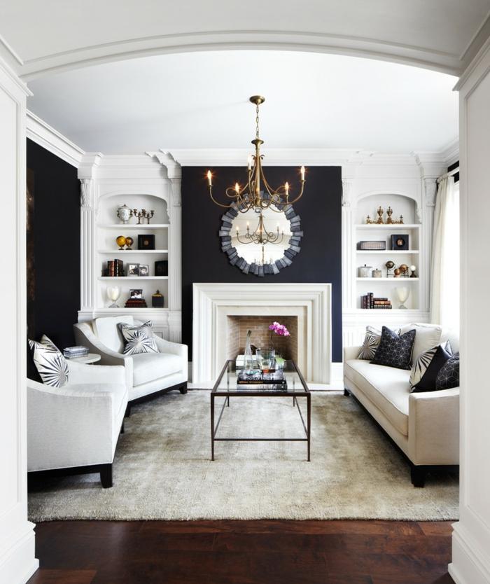 Muster Schwarz-Weiß wandgestaltung mit Farbe einrichtungsbeispiele schwarz weiß wohnzimmer einrichten durchgang