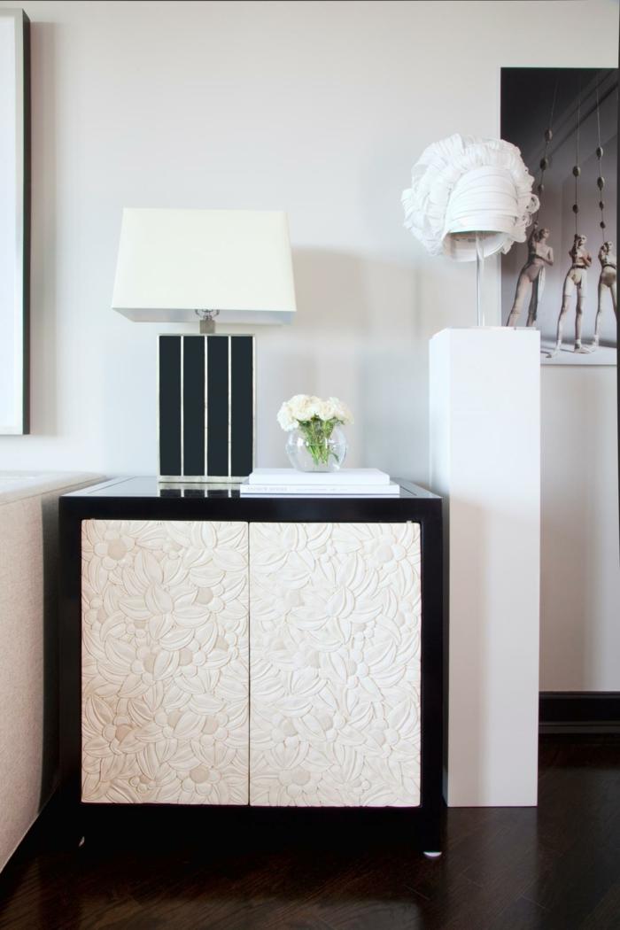 Muster Schwarz-Weiß wandgestaltung mit Farbe einrichtungsbeispiele elegant