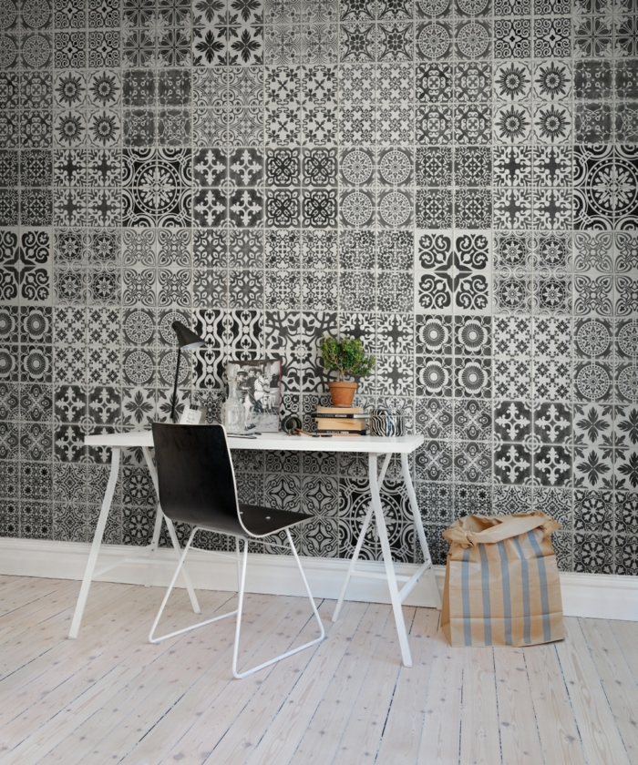 Muster Schwarz-Weiß wandgestaltung mit Farbe einrichtungsbeispiele schwarz weiß wohnzimmer einrichten fliesen