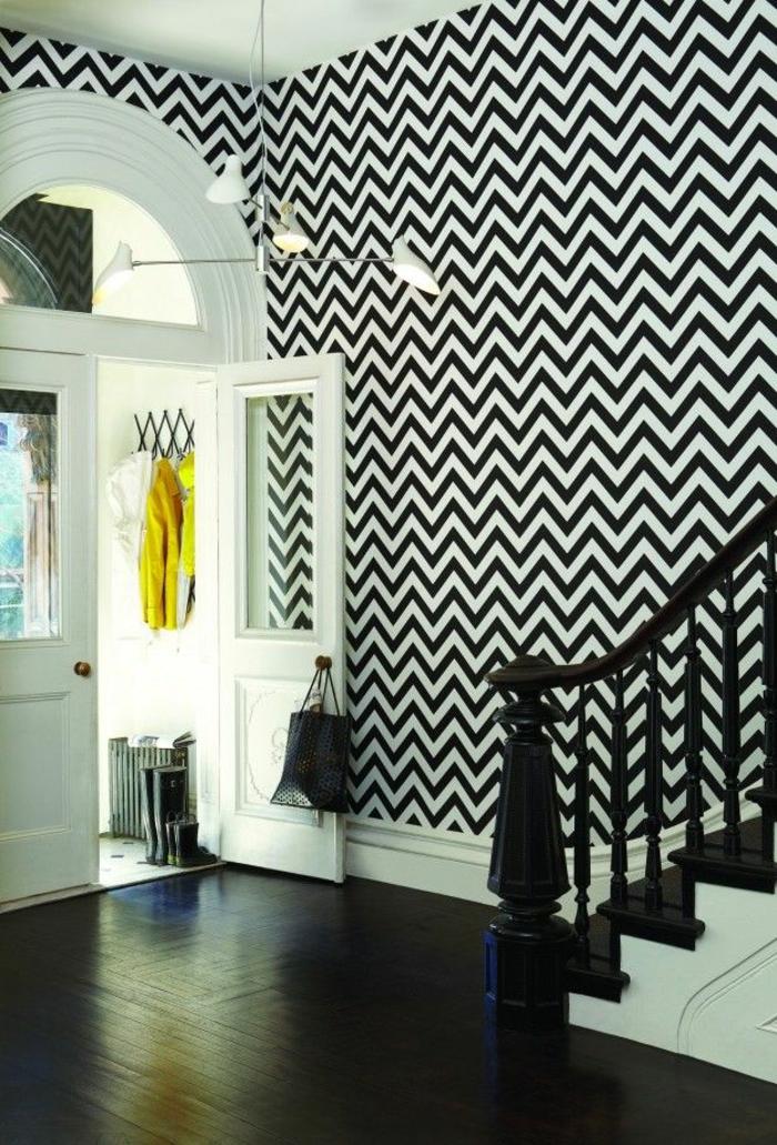 Muster Schwarz-Weiß wandgestaltung mit Farbe einrichtungsbeispiele schwarz weiß wohnzimmer einrichten flur
