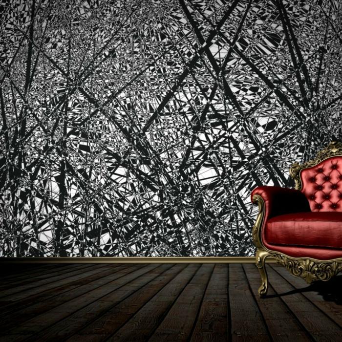 Muster Schwarz-Weiß wandgestaltung mit Farbe einrichtungsbeispiele schwarz weiß wohnzimmer einrichten fototapete