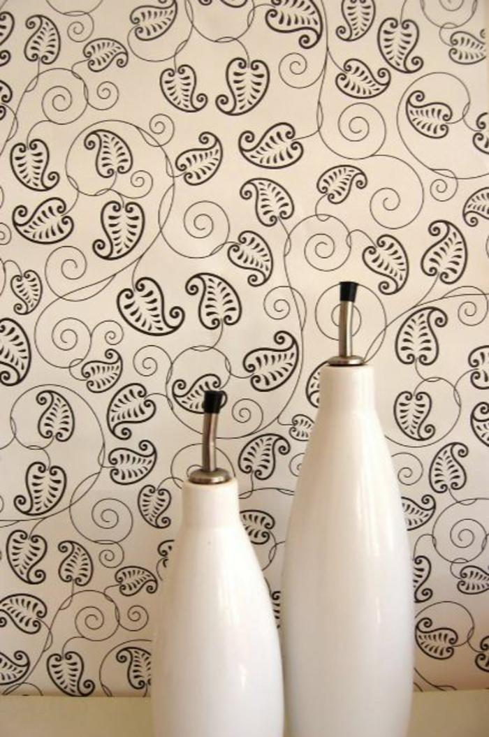 Muster Schwarz-Weiß lassen Sie eine Wandgestaltung mit Farbe vergessen einrichtungsbeispiele schwarz weiß wohnzimmer einrichten fototapete fragment