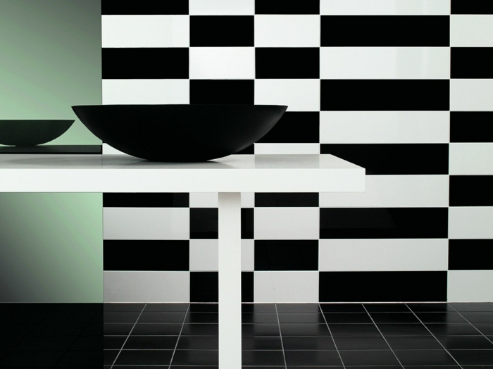 Muster in Schwarz-Weiß wandgestaltung mit Farbe einrichtungsbeispiele schwarz weiß wohnzimmer einrichten fototapete fragment geometrie