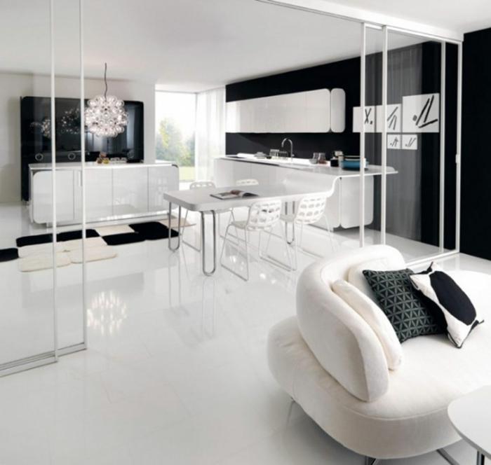 Muster in Schwarz-Weiß wandgestaltung mit Farbe einrichtungsbeispiele schwarz weiß wohnzimmer einrichten glanz