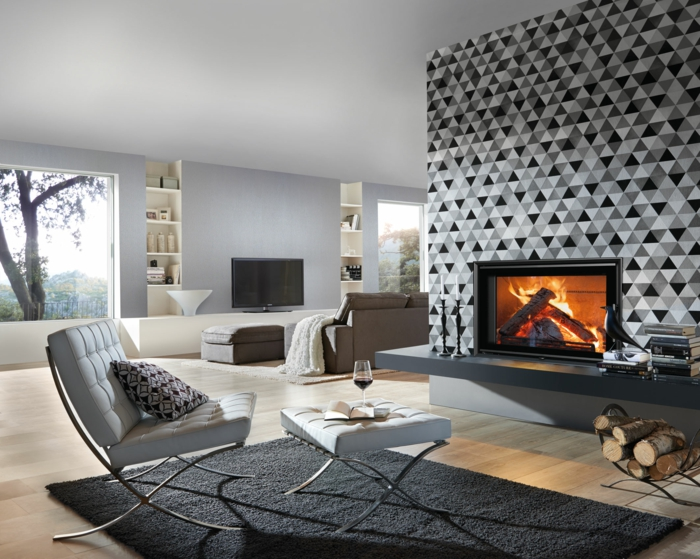 Muster Schwarz-Weiß wandgestaltung mit Farbe einrichtungsbeispiele schwarz weiß einrichten luxus