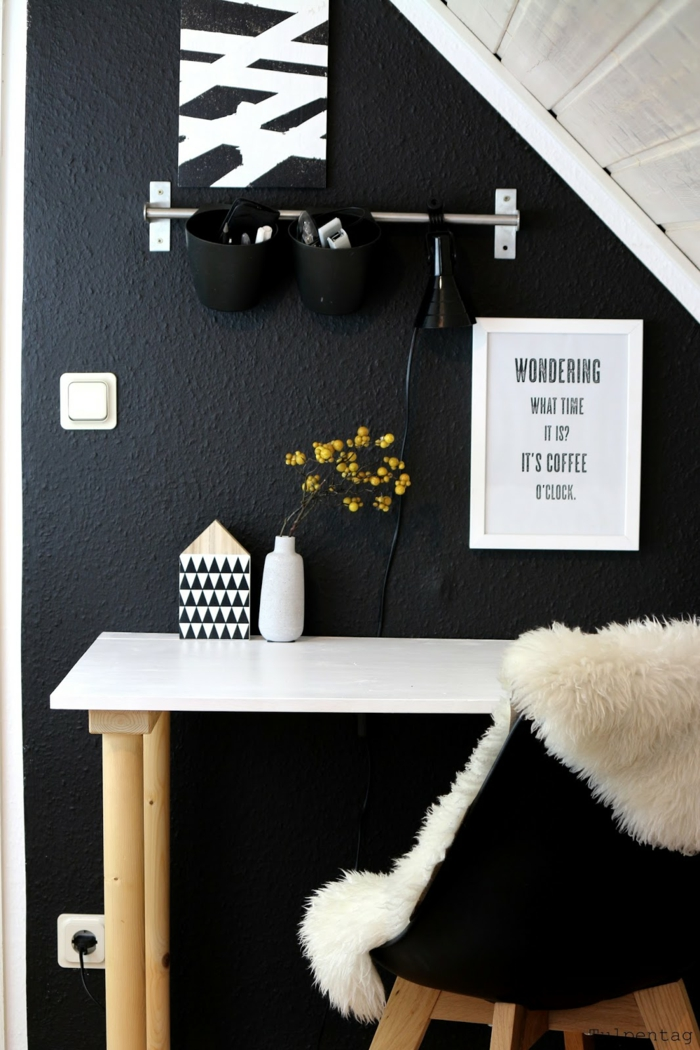 Muster Schwarz-Weiß wandgestaltung mit Farbe einrichtungsbeispiele schwarz weiß wohnzimmer einrichten mini