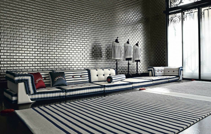Muster Schwarz-Weiß wandgestaltung mit Farbe einrichtungsbeispiele schwarz weiß wohnzimmer einrichten mode