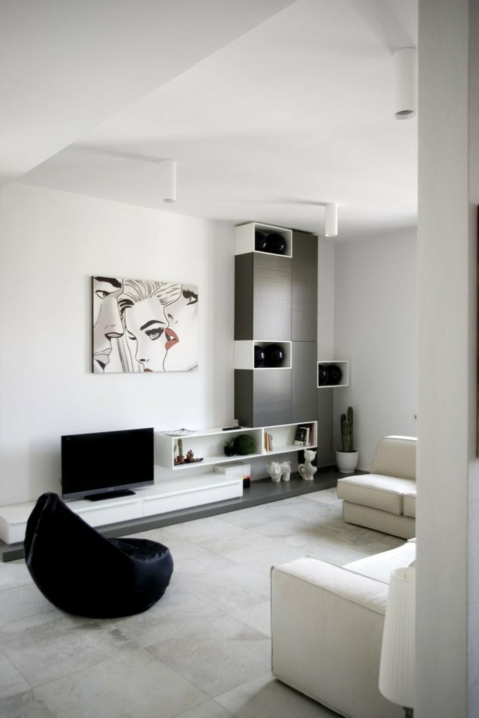 Muster in Schwarz-Weiß wandgestaltung mit Farbe einrichtungsbeispiele schwarz weiß wohnzimmer einrichten modern