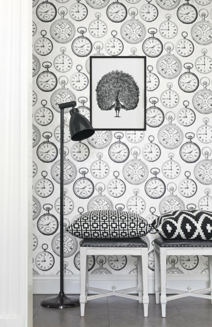 Muster Schwarz-Weiß wandgestaltung mit Farbe schwarz weiß wohnzimmer einrichten muster uhr