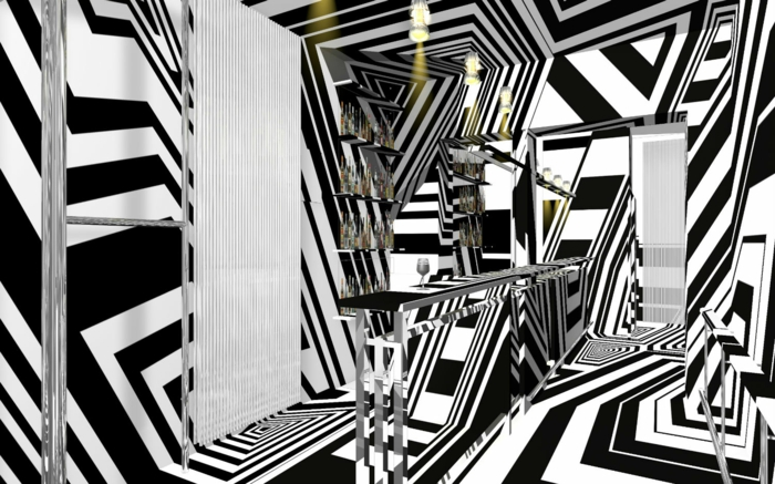 Muster in Schwarz-Weiß wandgestaltung mit Farbe schwarz weiß wohnzimmer einrichten op art