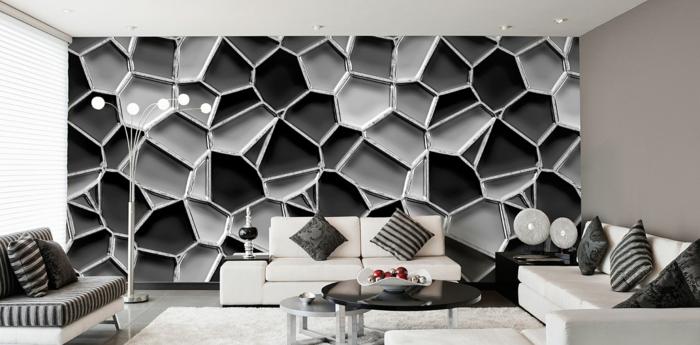 Muster in Schwarz-Weiß wandgestaltung mit Farbe wandgestaltung schwarz weiß wohnzimmer einrichten organisch