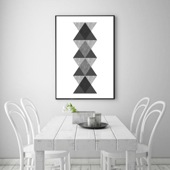 wandgestaltung schwarz weiß wohnzimmer einrichten poster
