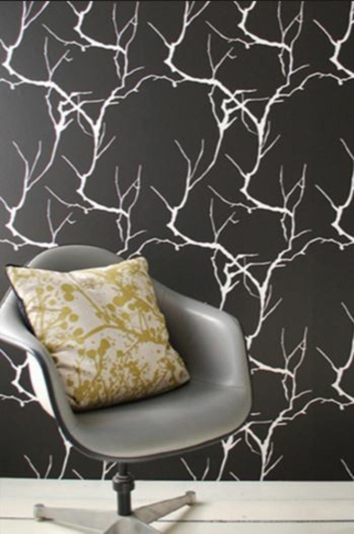 Muster in Schwarz-Weiß lassen Sie eine Wandgestaltung mit Farbe vergessen schwarz weiß wohnzimmer einrichten tapete