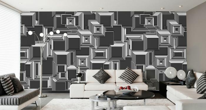 Muster Schwarz-Weiß wandgestaltung mit Farbe wandgestaltung schwarz weiß wohnzimmer einrichten tapetenmuster