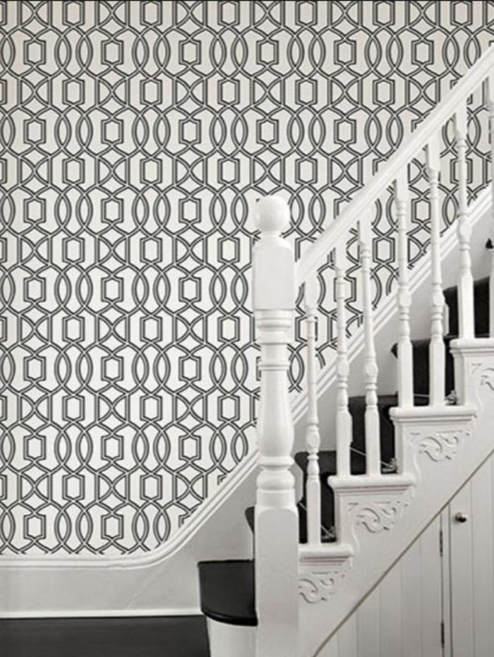 Muster in Schwarz-Weiß wandgestaltung mit Farbe schwarz weiß wohnzimmer einrichten treppe