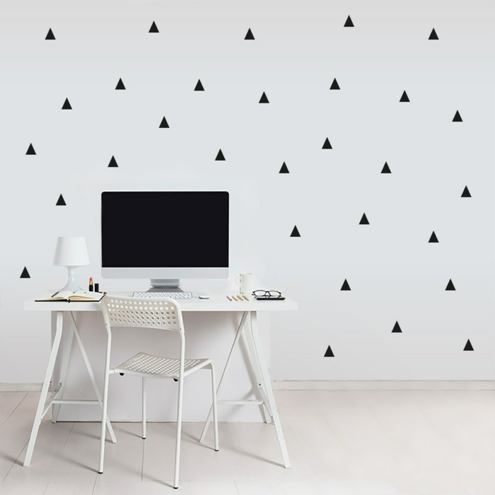 Muster in Schwarz-Weiß wandgestaltung mit Farbe schwarz weiß wohnzimmer einrichtungsbeispiele tropfen