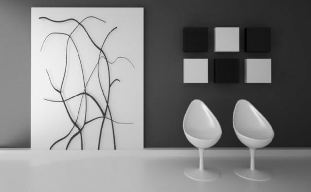 wandgestaltung-schwarz-weiß-wohnzimmer-einrichten-wandbilder