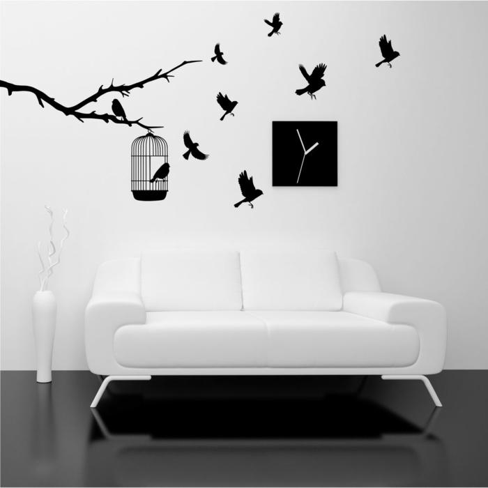 Muster in Schwarz-Weiß wandgestaltung mit Farbe einrichtungsbeispiele schwarz weiß wohnzimmer einrichten wandtatoo