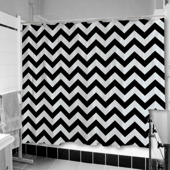 Muster in Schwarz-Weiß wandgestaltung mit Farbe schwarz weiß wohnzimmer einrichten weiss schwarz duschvorhang
